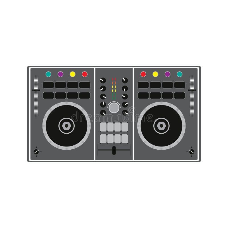 DJ ver voor het spelen van en het mengen van muziek Vector illustratie stock illustratie