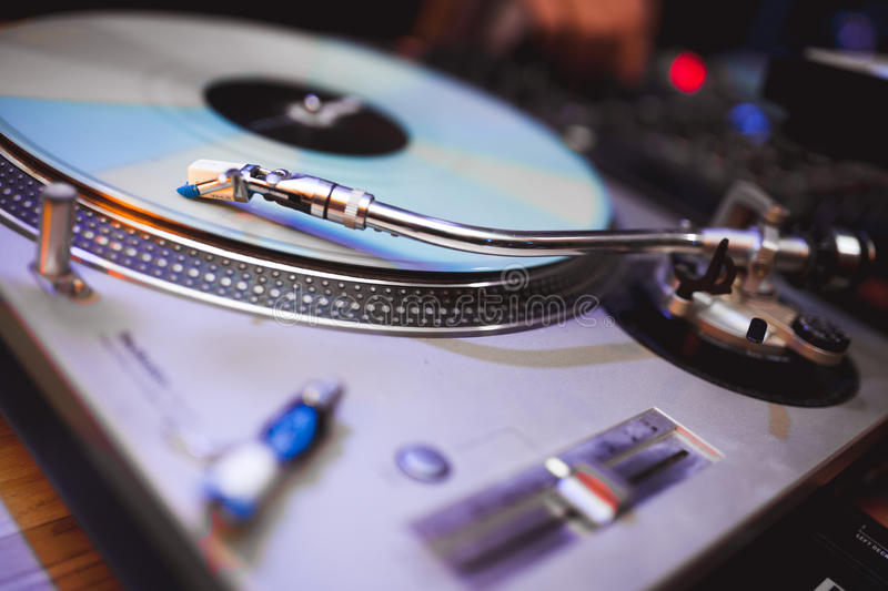 DJ vinil turntable. Shallow deabth shallow depth of field royalty free stock photos