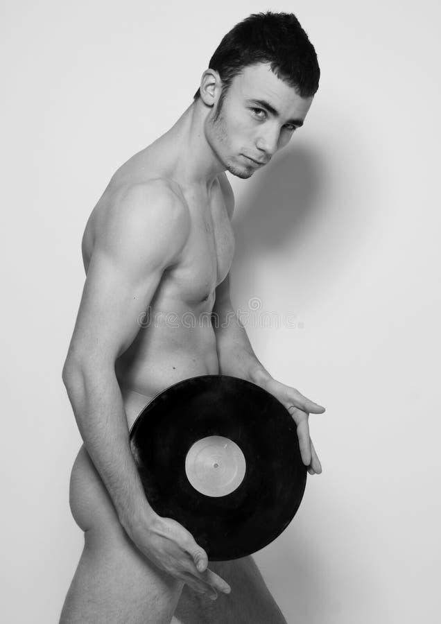 Dj with vinyl. Portrait of handsome dj with vinyl stock images