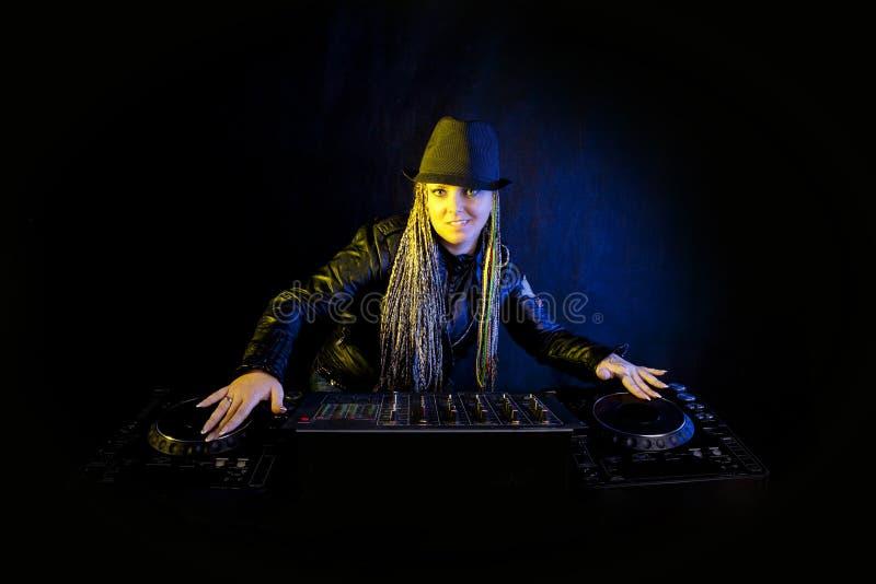 Dj woman playing music