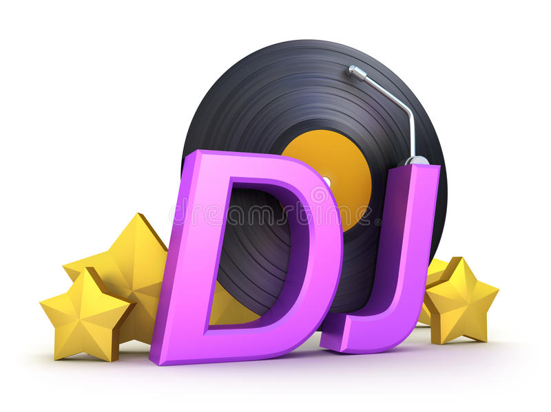 Dj word with vinyl and stars stock illustration