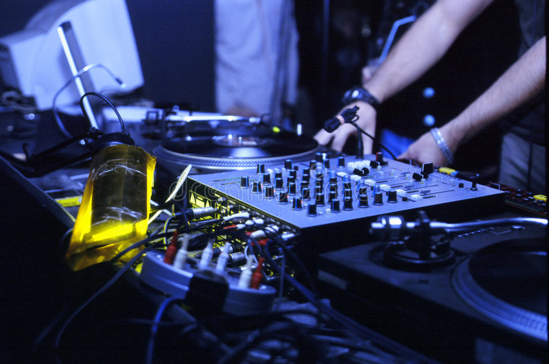 Dj work. And night party in some club royalty free stock images