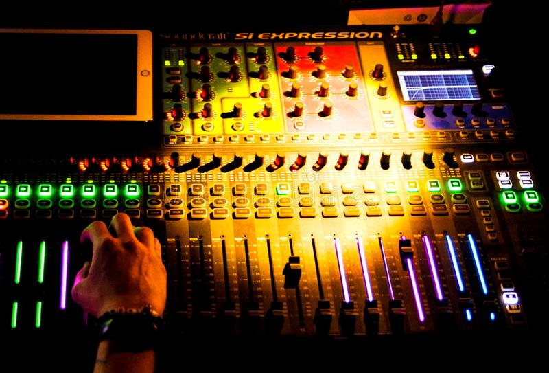 Dj at work in a nightclub royalty free stock photos