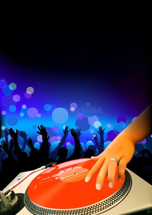 DJ y audiencia stock de ilustración