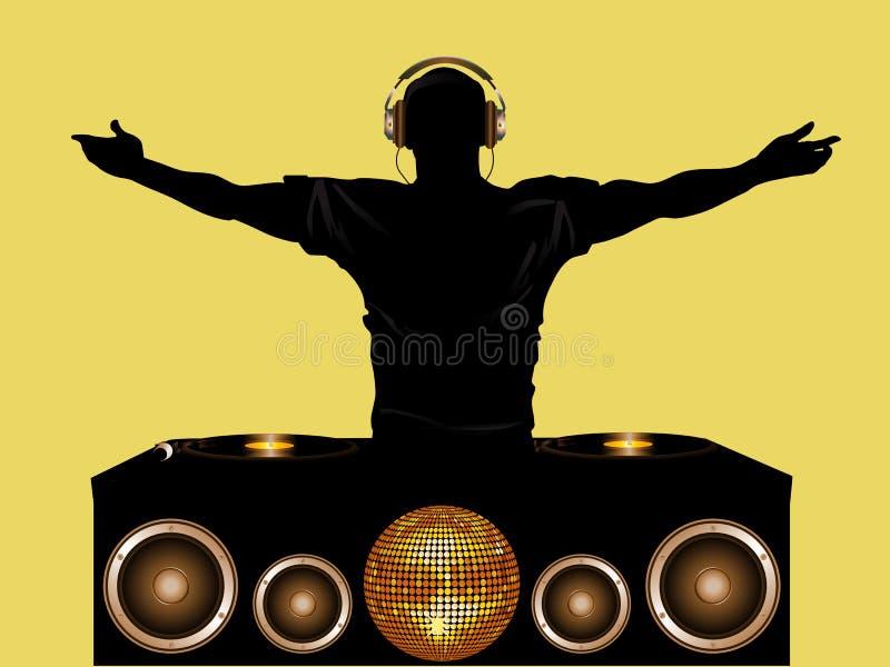 DJ y cubiertas de registro con los altavoces ilustración del vector
