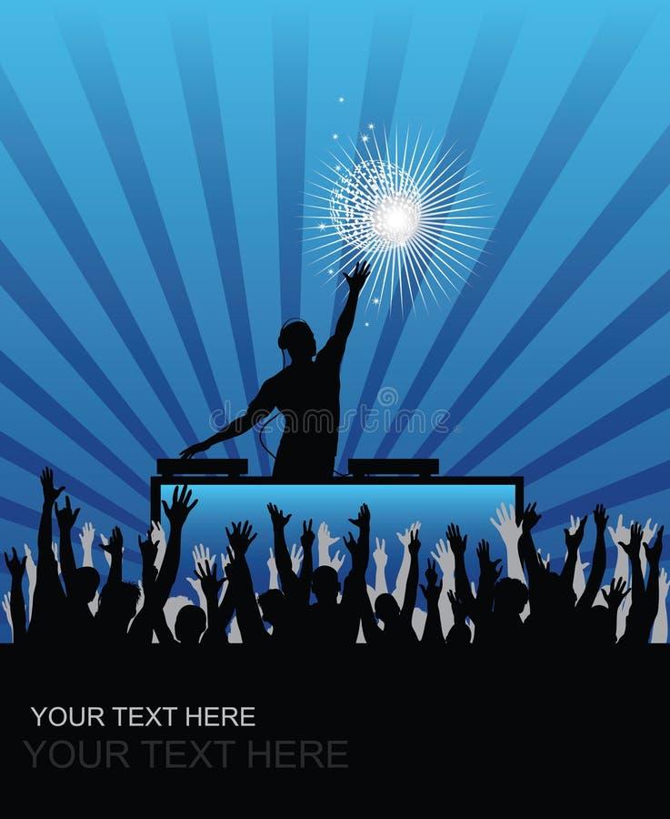 DJ-zujubelndes Publikum stock abbildung