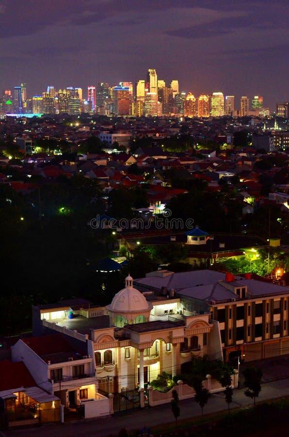 Djakarta bij Nacht, Indonesië royalty-vrije stock foto's