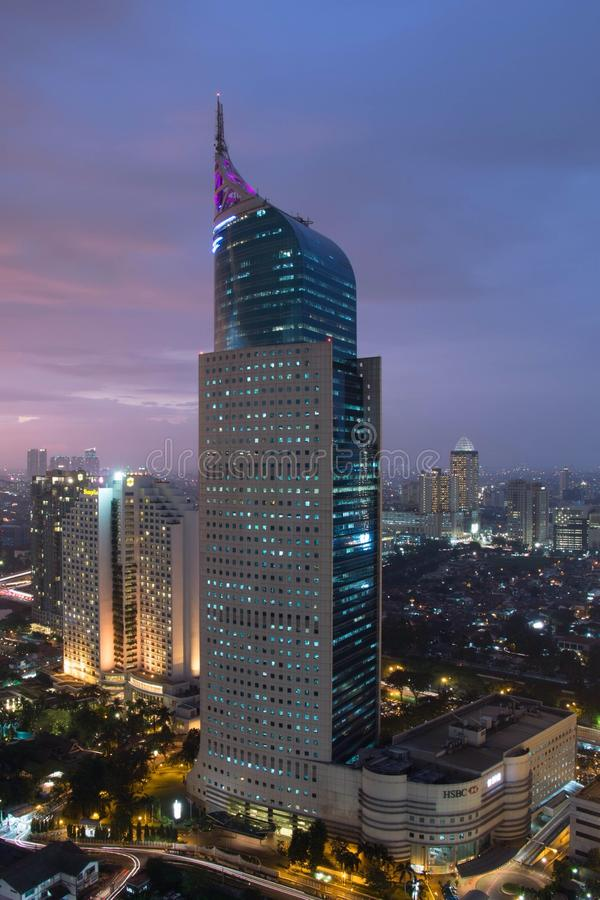 Djakarta in Blauw Uur royalty-vrije stock fotografie