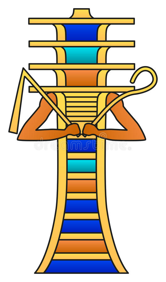 Djed Pillar With Crook And Flail. Colored hieroglyph, ancient Egyptian mythology symbol, meaning stability. Associated with Osiris, god of afterlife stock illustration