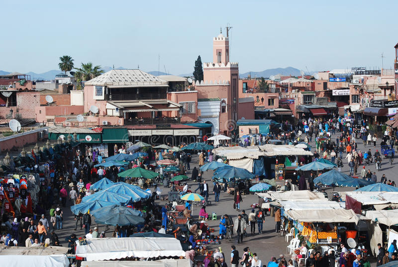 Marrakech Djema el-Fna a market place Morocco. Djema el-Fna or Jemaa el-Fnaa is a main square of Marrakech and market place in Marrakeshs medina quarter - old stock photography
