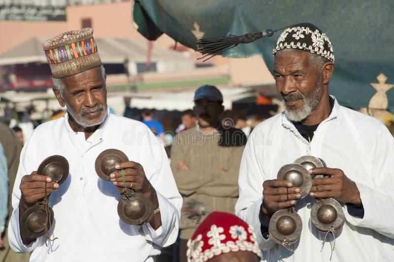 Djemaa的El Fna,马拉喀什音乐家 库存照片