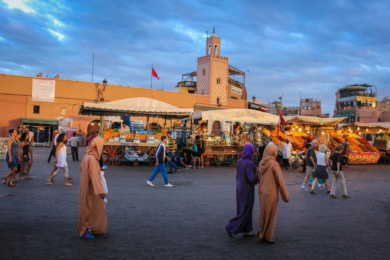 Djemaa el Fna square. Marrakesh. Morocco stock images