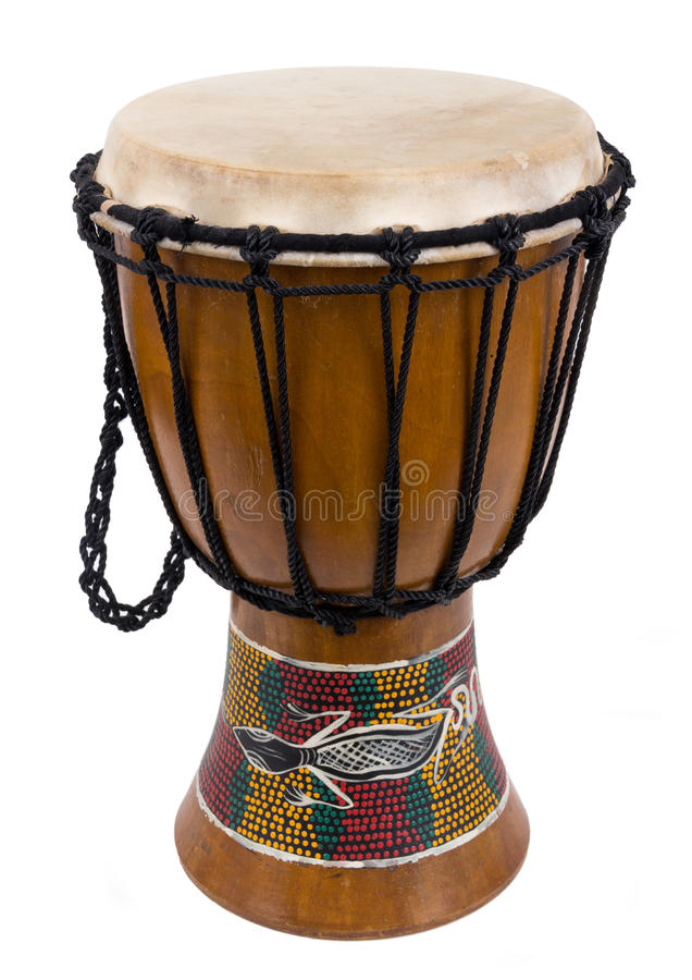 Djembe drum isolated over a white background stock photo