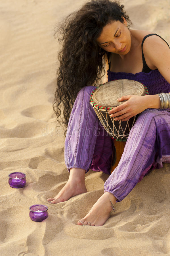 Djembe player royalty free stock photography