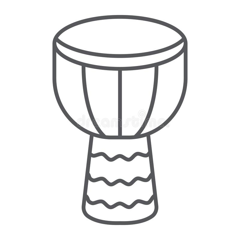 Djembe thin line icon, music and instrument, drum sign, vector graphics, a linear pattern on a white background. royalty free illustration