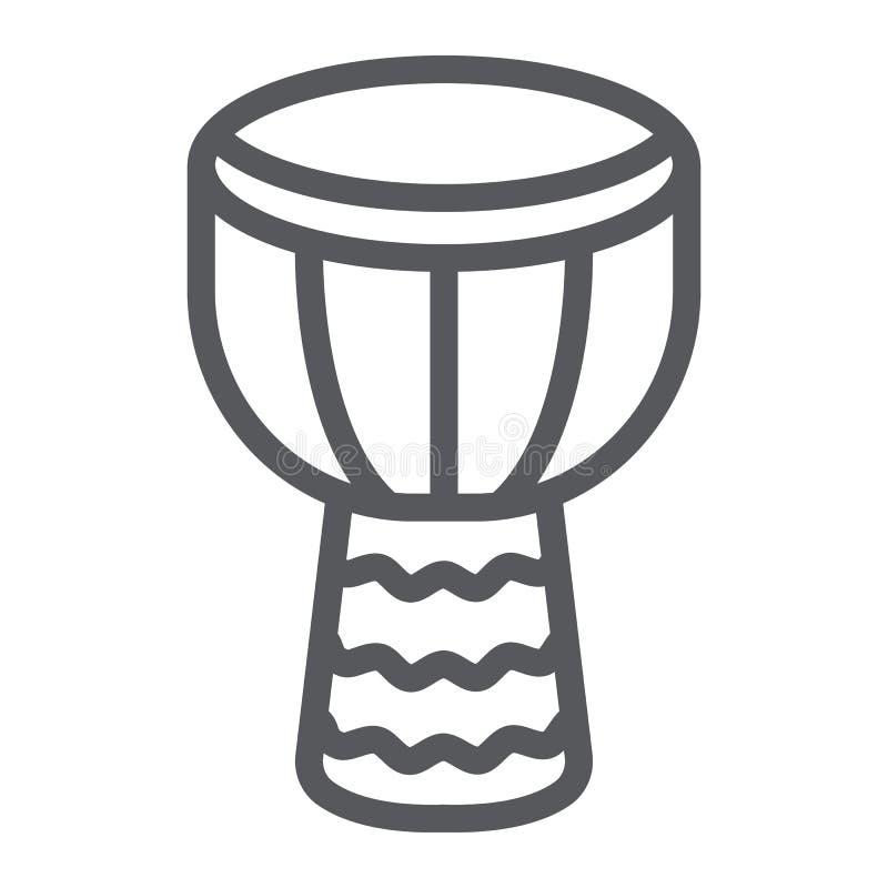 Djembe wykłada ikonę, muzykę i instrument, bębenu znak, wektorowe grafika, liniowy wzór na białym tle ilustracja wektor