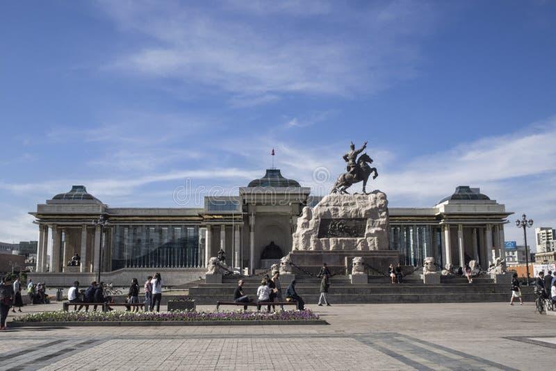 Djenghis Khan Square em Ulaanbaatar em Mongolie imagem de stock royalty free