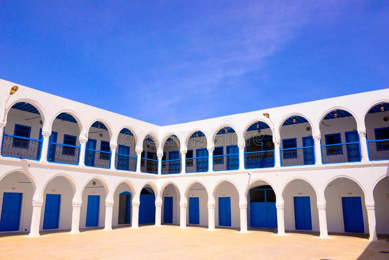 Djerba Ghriba Synagogue Hostel Terrace, Travel Tunisia, Religion, Jewish stock images