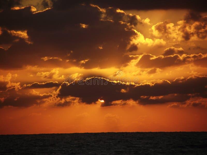 Djerba red sunrise. Sea, beach royalty free stock photography