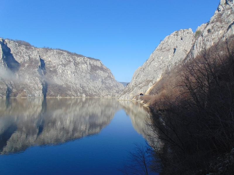 Djerdap gorge / River Danube. One of the most beautiful places along the Danube River is located in Djerdap Gorge stock photos