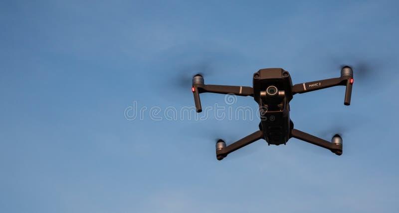 DJI Mavic pro 2 drone in flight royalty free stock photography