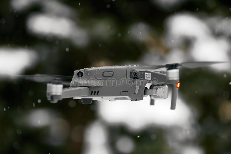 DJI Mavic 2 Pro, flying in wet snow conditions. DJI Mavic 2 Pro one of the most portable drones in the market, with Hasselblad. Camera. 07.12.2018 Rostov-on-Don royalty free stock photos