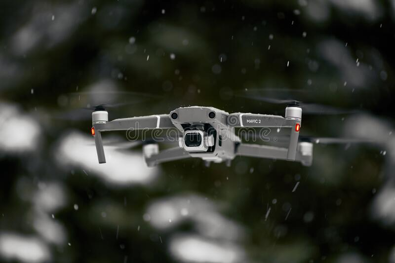 DJI Mavic 2 Pro, flying in wet snow conditions. DJI Mavic 2 Pro one of the most portable drones in the market, with Hasselblad. Camera. 07.12.2018 Rostov-on-Don royalty free stock images