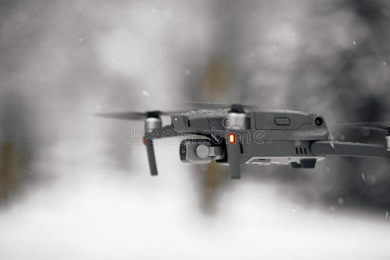 DJI Mavic 2 Pro, flying in wet snow conditions. DJI Mavic 2 Pro one of the most portable drones in the market, with Hasselblad. Camera. 07.12.2018 Rostov-on-Don royalty free stock image