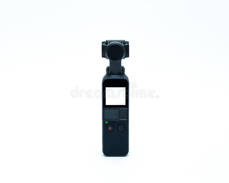 DJI Osmo Pocket Camera Isolated na opinião traseira do fundo branco fotos de stock royalty free
