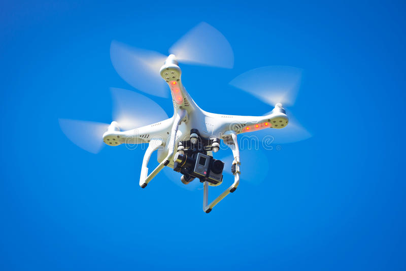 DJI Phantom 2 Quadcopter Drone in flight with GoPro camera stock images