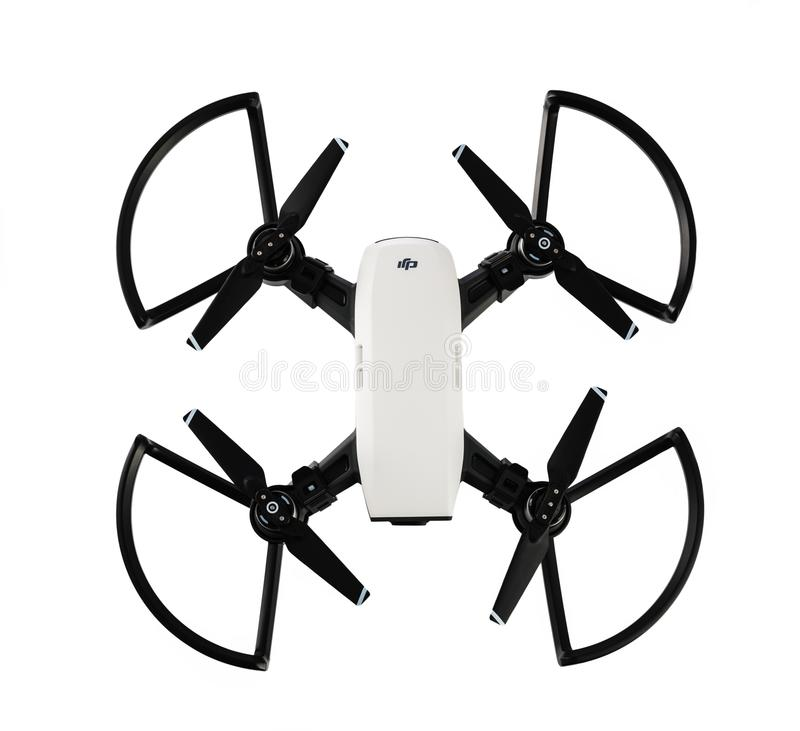 Dji Spark drone mini quadcopter isolated on white stock photos