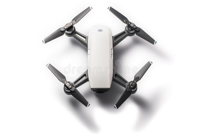Dji Spark mini drone quadcopter isolated on white stock photo