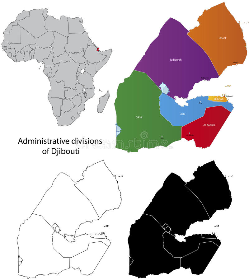 Djibouti översikt vektor illustrationer