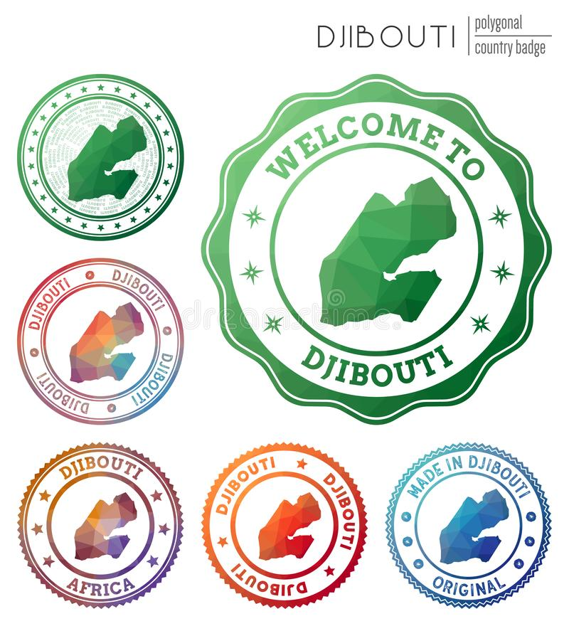Djibouti badge. Colorful polygonal country symbol. Multicolored geometric Djibouti logos set. Vector illustration stock illustration