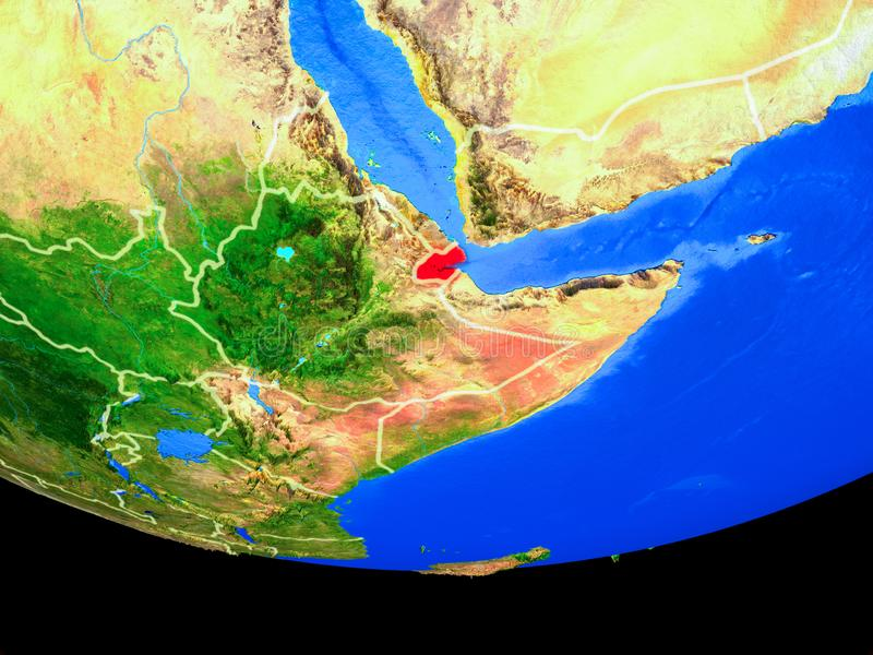 Djibouti del espacio en la tierra ilustración del vector