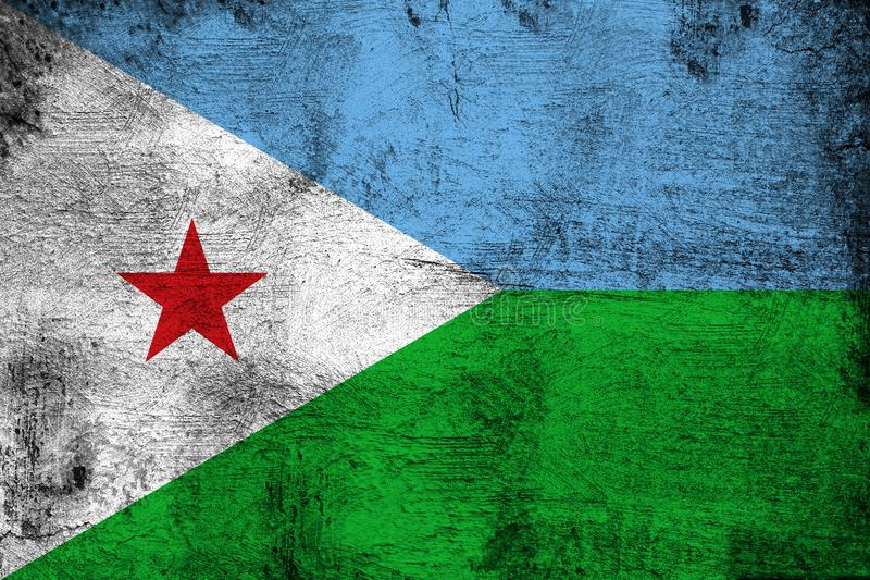 Djibouti. Grunge and dirty flag illustration. Perfect for background or texture purposes stock illustration