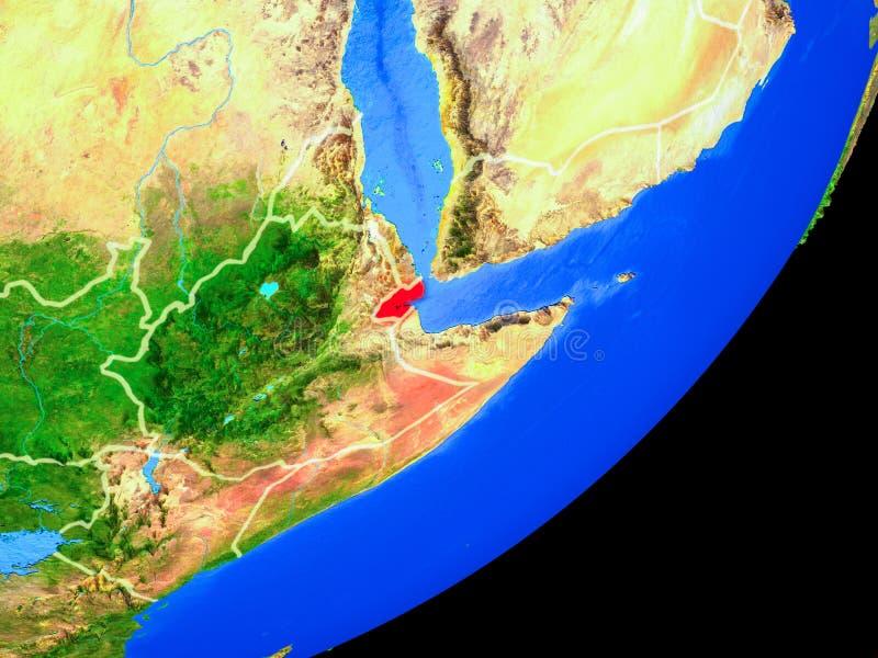 Djibouti en la tierra del espacio stock de ilustración