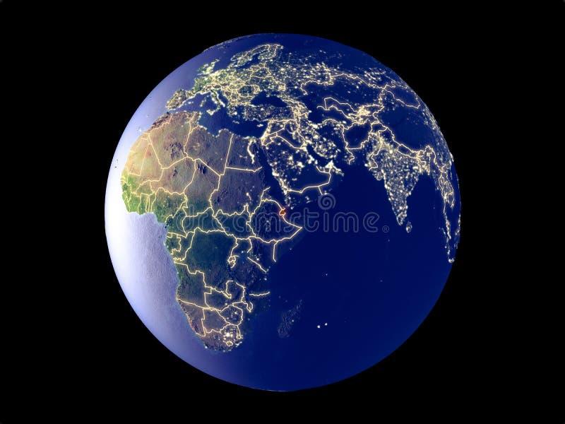Djibouti en la tierra del espacio ilustración del vector