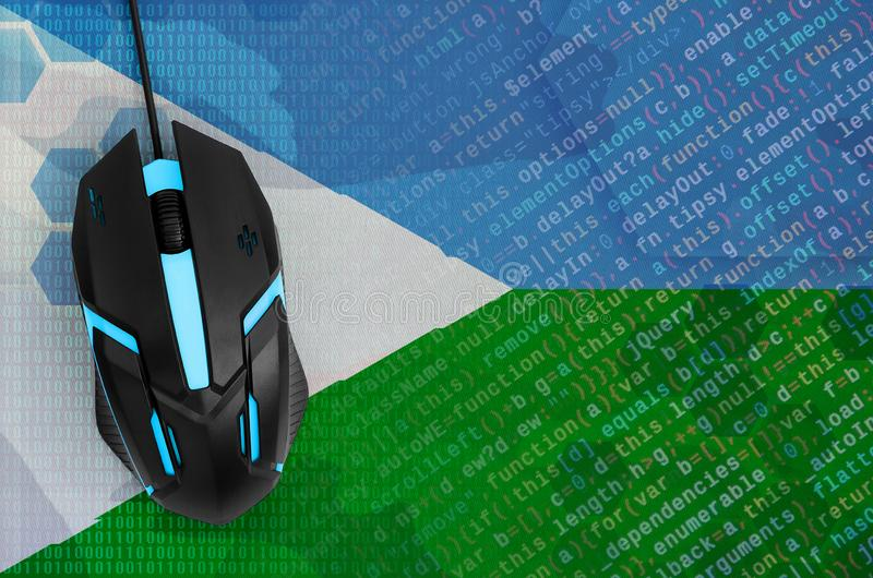 Djibouti flag and computer mouse. Digital threat, illegal actions on the Internet stock photography