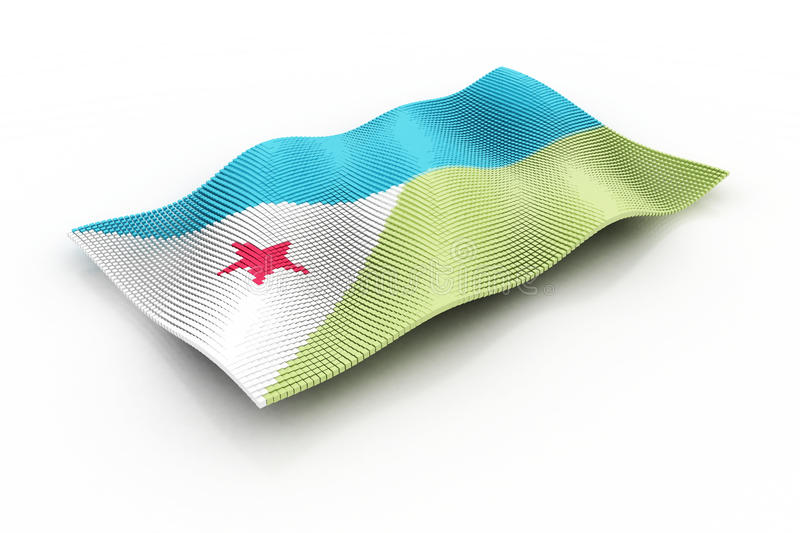 Djibouti. The Djibouti flag consisting of cubes royalty free illustration