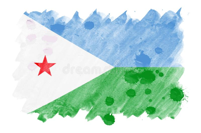 Djibouti flag is depicted in liquid watercolor style isolated on white background royalty free illustration