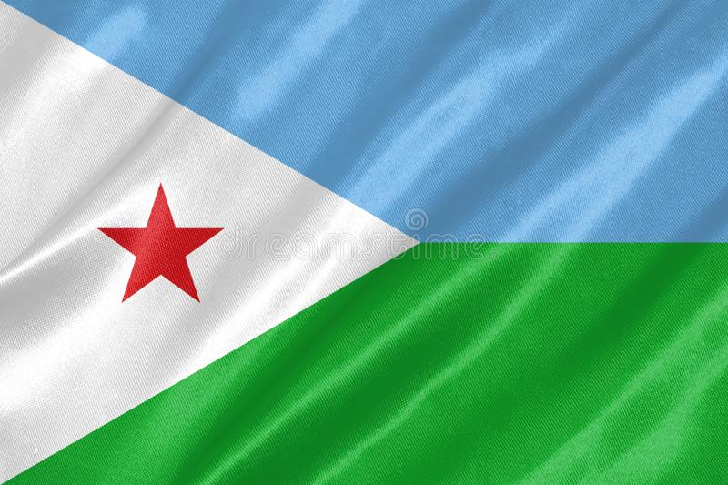 Djibouti Flag. With waving on satin texture royalty free illustration
