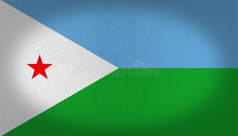 Djibouti flag. With a five peaks red star over a left white triangle and two horizontal lines, one in light blue and other in green, fabric texture background royalty free illustration