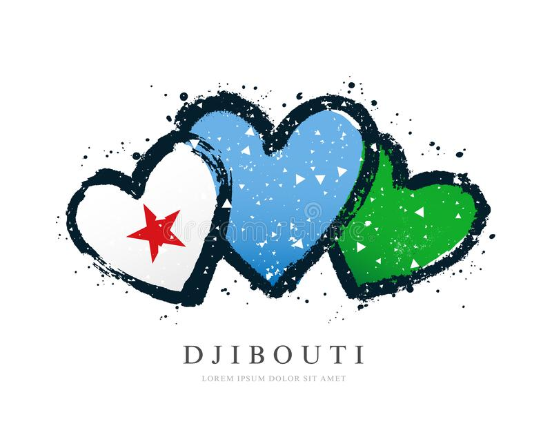 Djibouti flag in the form of three hearts royalty free illustration