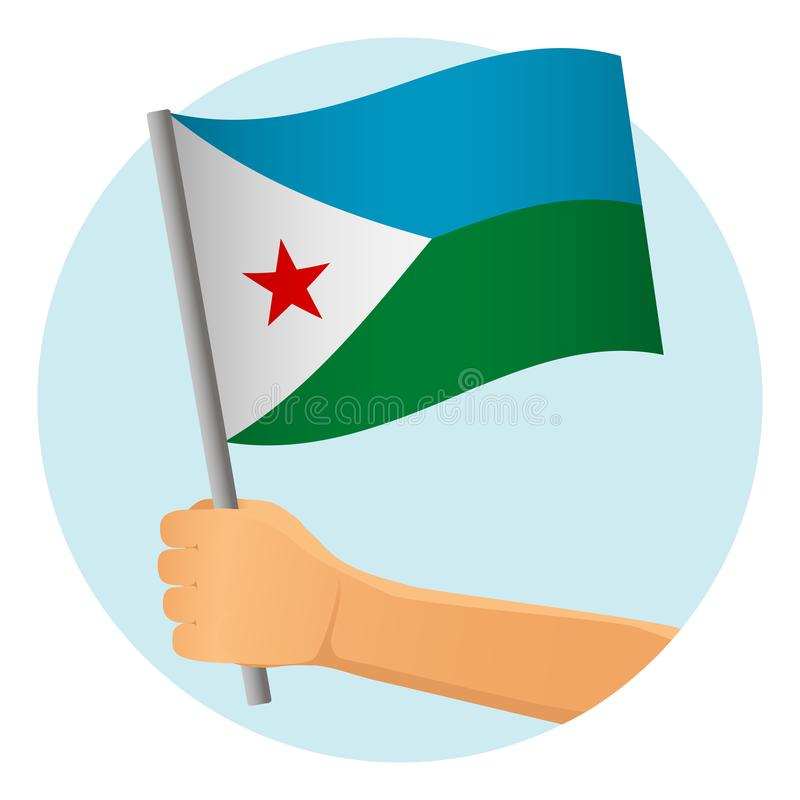 Djibouti flag in hand. Patriotic background. National flag of Djibouti vector illustration royalty free illustration