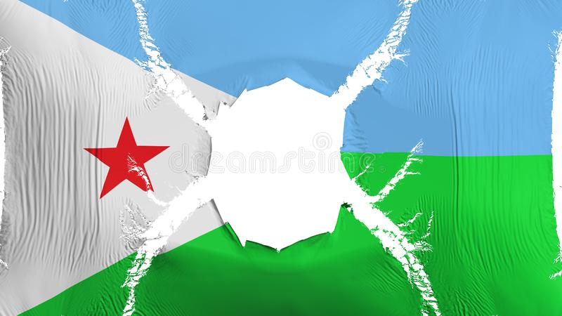 Djibouti flag with a hole. White background, 3d rendering stock illustration