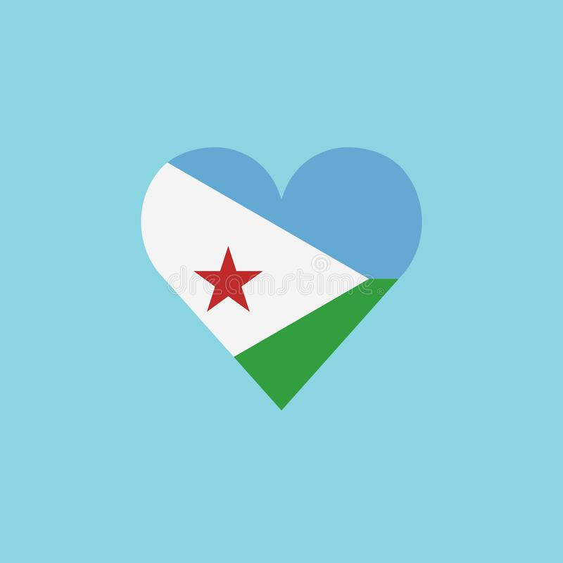 Djibouti flag icon in a heart shape in flat design royalty free illustration