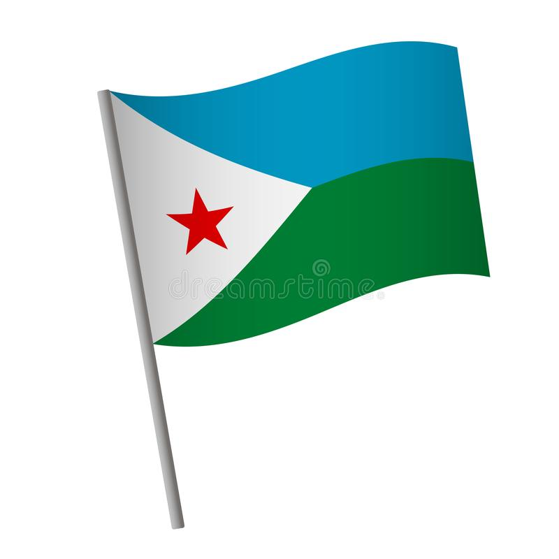 Djibouti flag icon. National flag of Djibouti on a pole vector illustration royalty free illustration