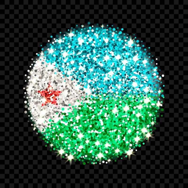 Djibouti flag sparkling badge royalty free illustration