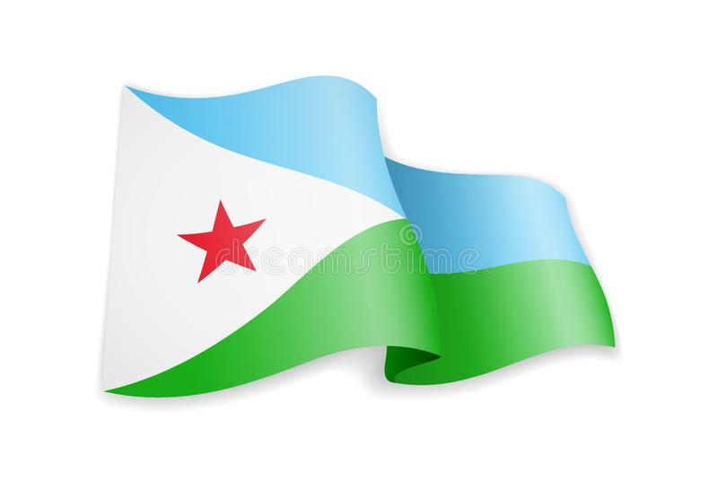 Djibouti flag in the wind. Flag on white vector illustration royalty free illustration